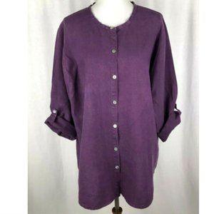FLAX Tunic Top Blouse Linen Purple NWOT